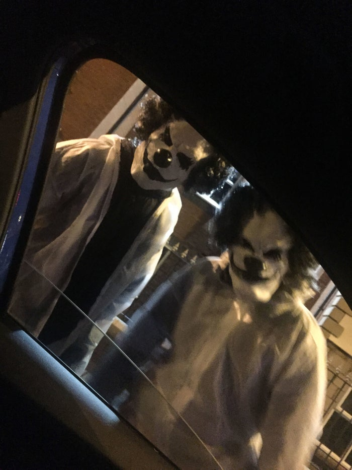 Clowns armed with machetes terrorised drivers who stopped at a set of traffic lights in Manchester.