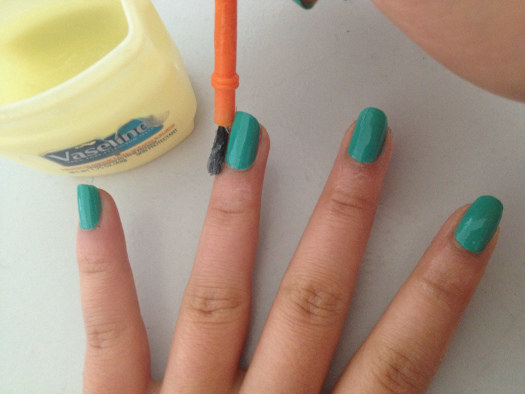 Brush Vaseline around your fingers when painting your nails to keep the polish from sticking to your skin.