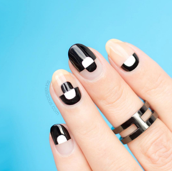 If you need more balance, try a more mod look with some white polish to even things out.