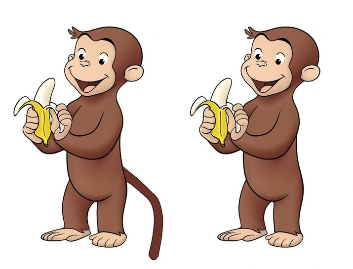 A lot of people even claim to remember seeing him use his tail to swing from the trees. If you look up pictures of Curious George right now, you'll see that he doesn't have a tail, meaning either your memory made the whole thing up or you've, like, drifted into a parallel universe.