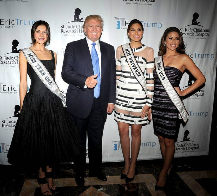Donald Trump with winners of his beauty pageants in 2014.