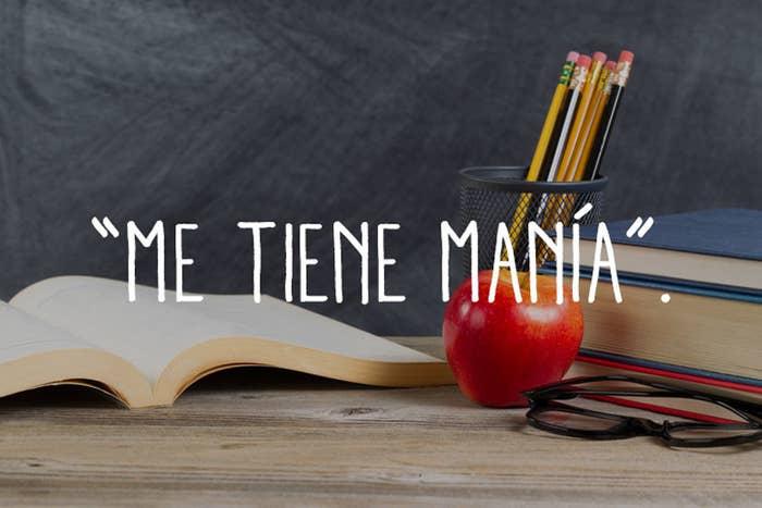Traducción: Me tiene manía porque no voy a clase, no estudio y no hago los deberes.