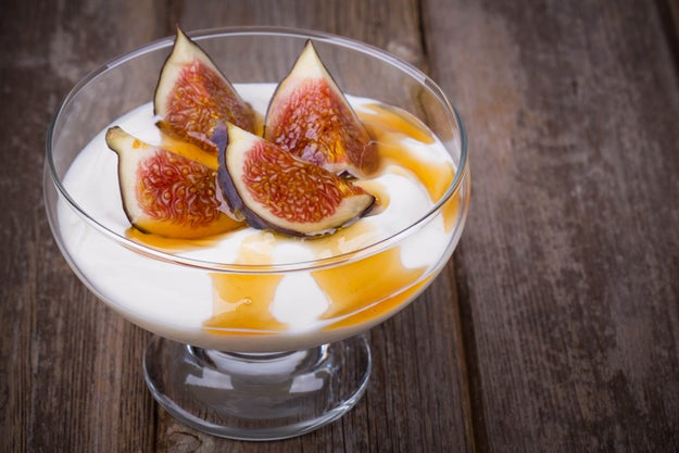 Plain Greek yogurt with fruit and honey.