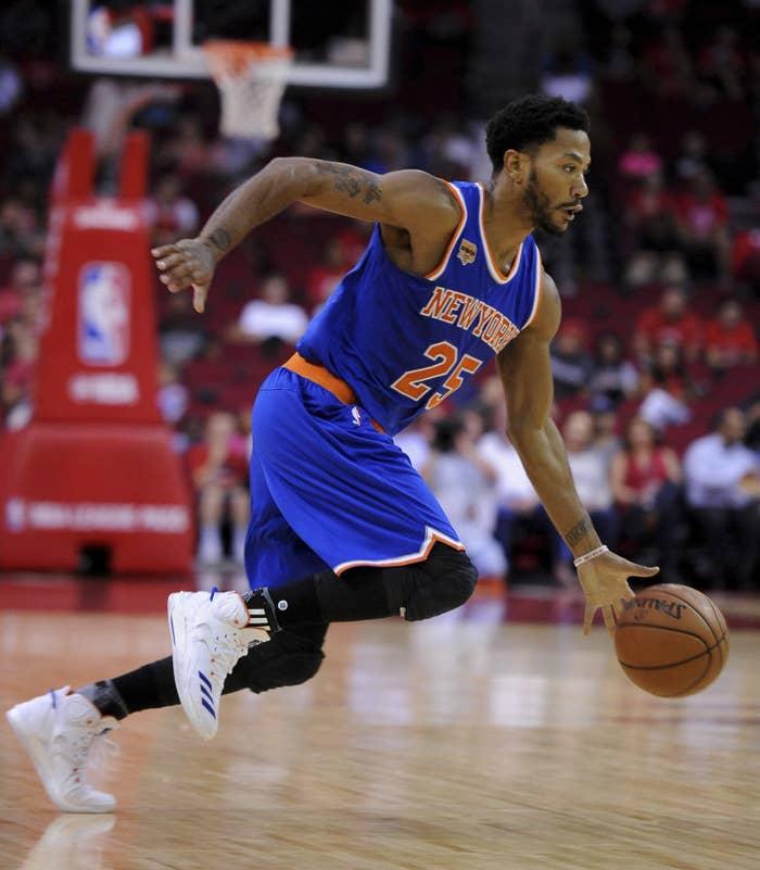 New York Knicks guard Derrick Rose dribbles against the Houston Rockets in October.