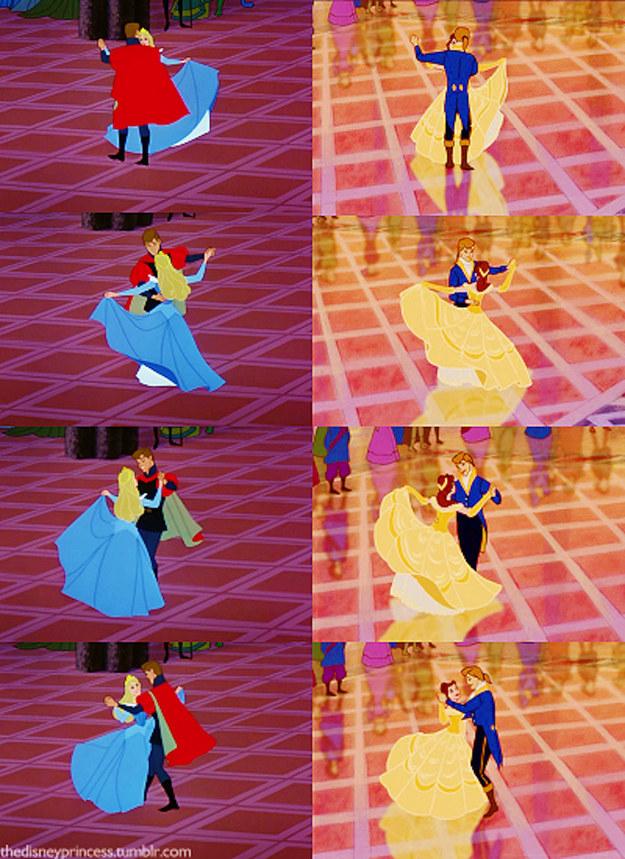 El baile de Bella y Adam al final de la película está hecho con animación reutilizada del baile de Aurora y Felipe.