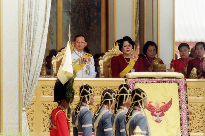 Thai King Bhumibol Adulyadej (left) and Queen Sirikit (centre) preside June 1996 in Bangkok over a ceremony marking the 50th anniversary of the king's accession.