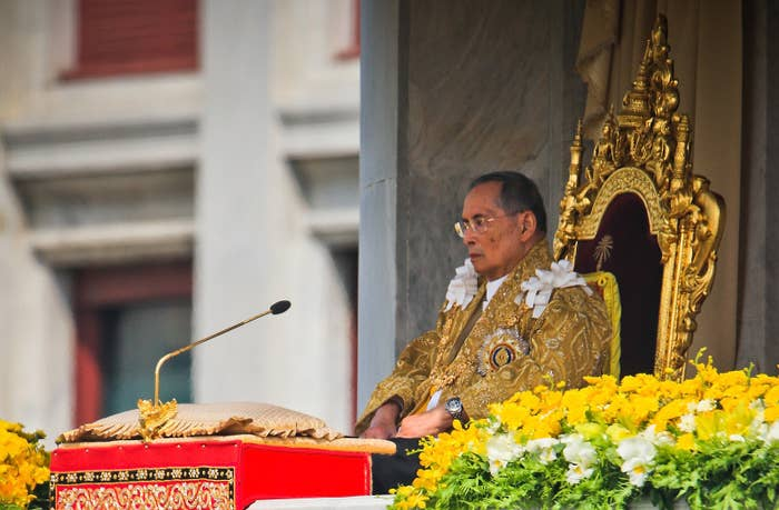 Thailand's King Bhumibol Adulyadej makes a rare public appearance on Dec. 5, 2012.