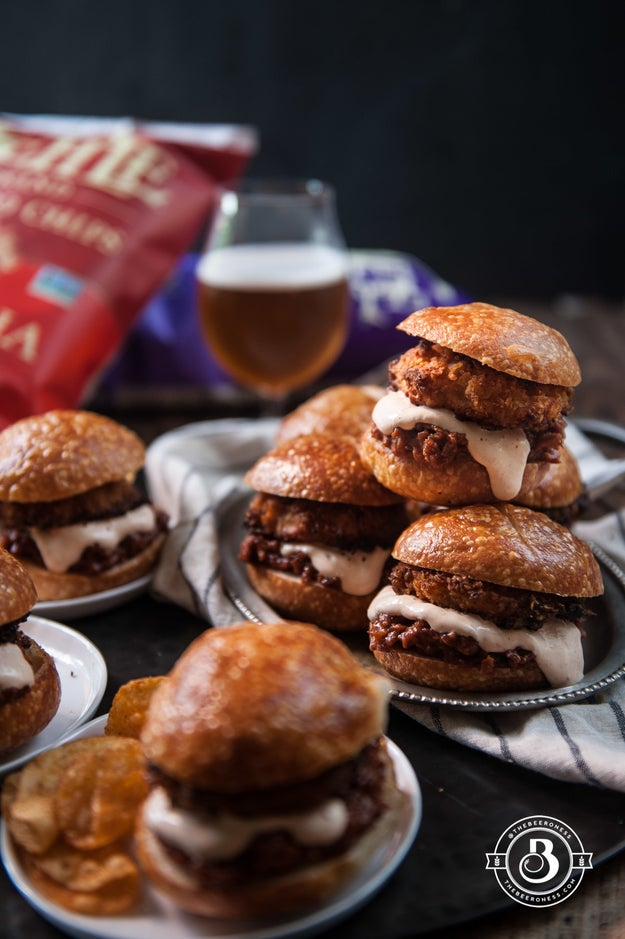 Beer-Braised Short Rib Sliders With Kettle Chip-Crusted Onion Rings