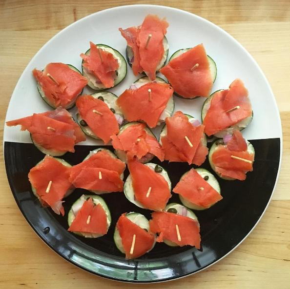 Smoked salmon cucumber rounds.
