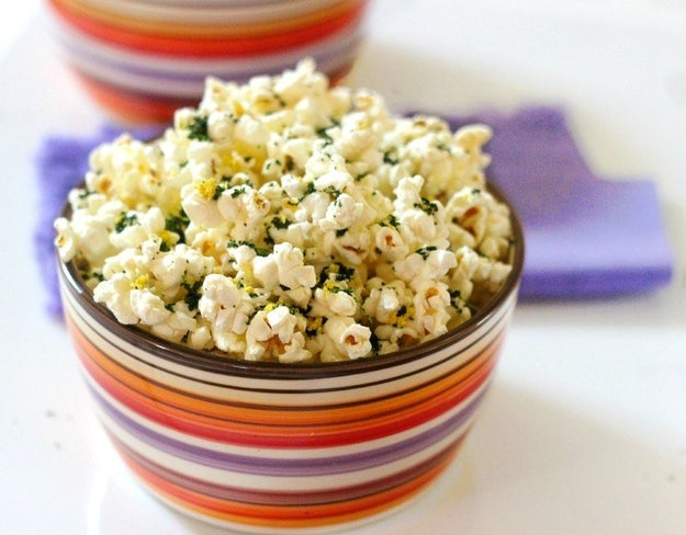 Popcorn with different seasonings.