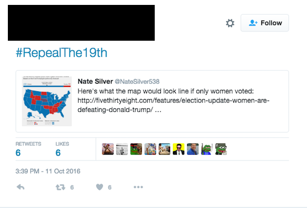 So, they began to tweet about repealing the 19th Amendment, which granted women the right to vote, using the hashtag #RepealThe19th.