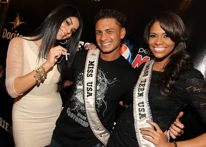 Former Miss USA Rima Fakih, DJ Pauly D and former Miss Teen USA Kamie Crawford in 2011.