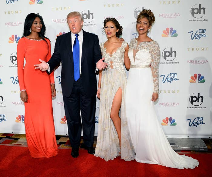 Donald Trump with 2012 Miss Universe, Miss Teen USA, and Miss USA winners at the 2013 Miss USA pageant in Las Vegas.