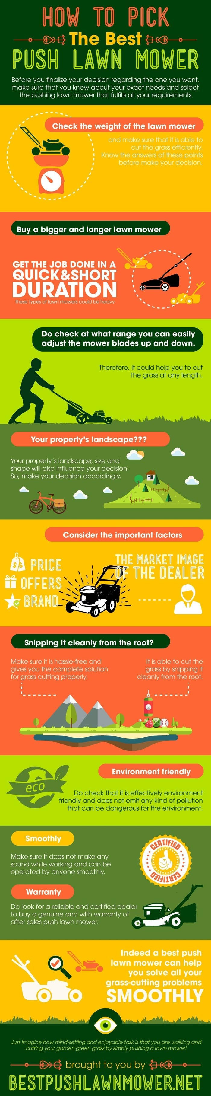 Picking the Best push Lawn Mower is a vital part of gardening, no matter what gardening tools you use you should always go wisely. This info graphic will help you buy the best push lawn mower.