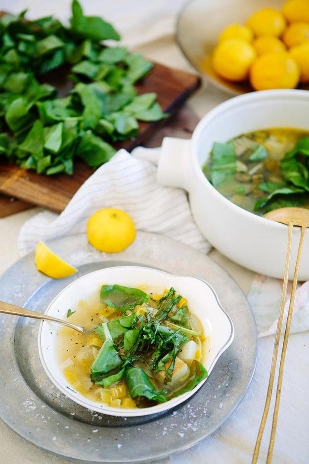 Sorrel and Potato Leek Soup