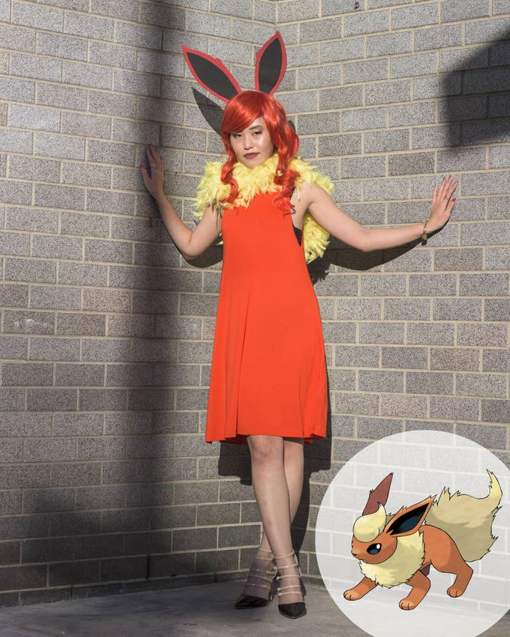 15 ridiculously easy pokemon halloween costumes you can make for 30 for flareonx27s outfit you make only the ears then wrap solutioingenieria Choice Image