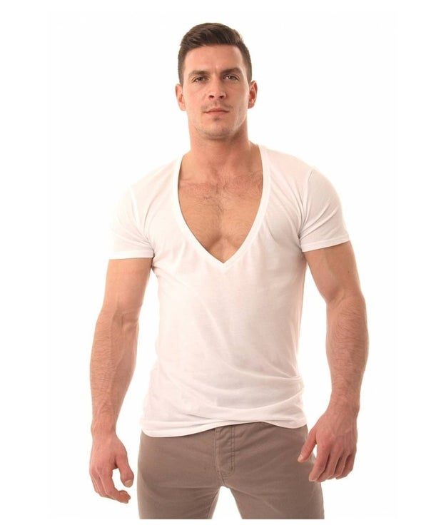 Way-too-deep V necks