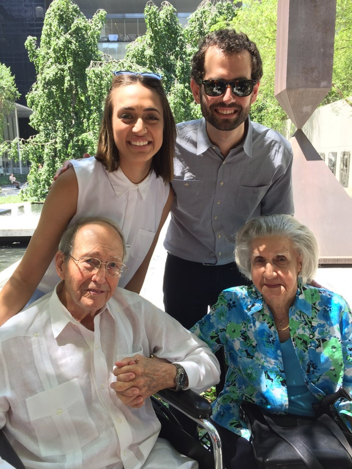 Claudia Maria Alonso and her brother Javier Alonso with their grandparents.