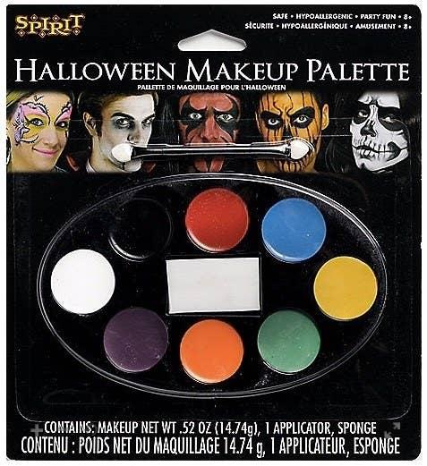 A thrifty Halloween makeup palette darkens a cheek wound.