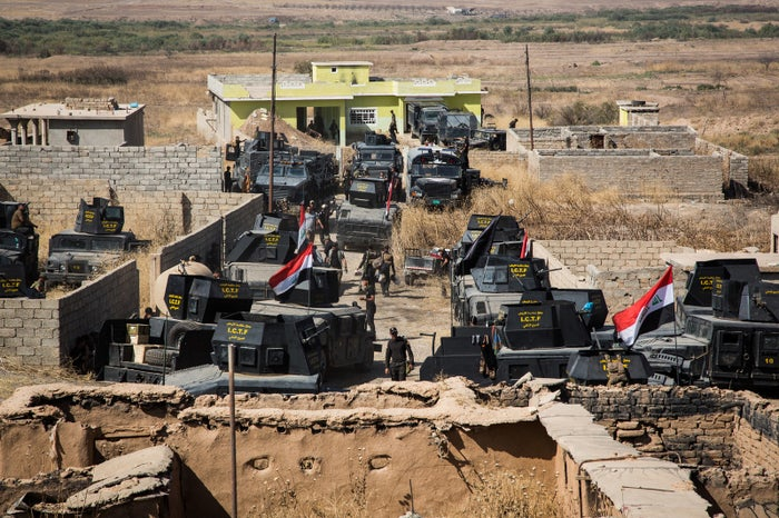 Iraq's Golden Division Special Forces settle in a village outside Erbil in preparation for the Mosul offensive, Oct. 13, 2016.