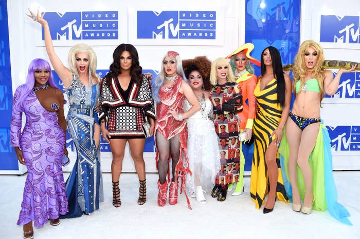 NEW YORK, NY - AUGUST 28: Rupaul's Drag Race All Stars attend the 2016 MTV Video Music Awards at Madison Square Garden on August 28, 2016 in New York City. (Photo by Jamie McCarthy/Getty Images)