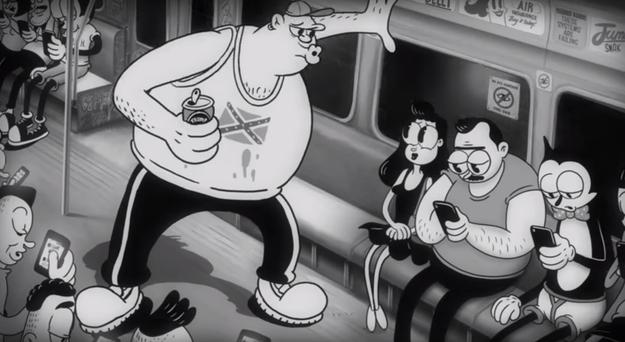 Em uma das cenas, um homem assedia uma mulher em um trem, enquanto as pessoas olham para seus aparelhos...