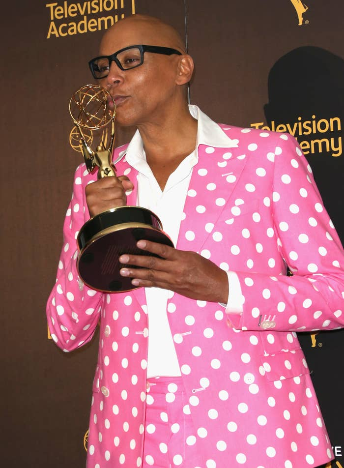 LOS ANGELES, CA - SEPTEMBER 11: TV personality RuPaul Charles, winner of Outstanding Host For A Reality Or Reality-Competition Program. (Photo by Frederick M. Brown/Getty Images)