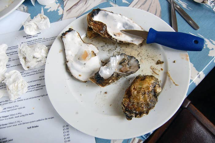 """There is an ongoing argument over whether bivalves, such as oysters, feel pain. Many believe they cannot feel pain because they do not have a brain. There is also an argument for eating cultivated oysters because they are good for the environment. Oysters filter water as they feed and oyster beds can help to stabilise the sea floor by creating rocky substrate, rather than mud. A programme in New York is trying to reintroduce a billion oysters back into the harbour, not only to provide a source of food but also to improve the environment. Some vegans call themselves """"ostrovegans"""", referring to the fact that they will eat oysters and mussels but no other animal products.In the UK it is possible to pick mussels in the wild, and rope-grown are also sustainable. Oysters are also an ethical choice, even if they are farmed. It is best to choose Pacific rock oysters, as this is another invasive species being controlled to allow native oysters back in. I had some from The Company Shed in West Mersea. Unfortunately they were spawning at the time so tasted a bit, er, spunky."""