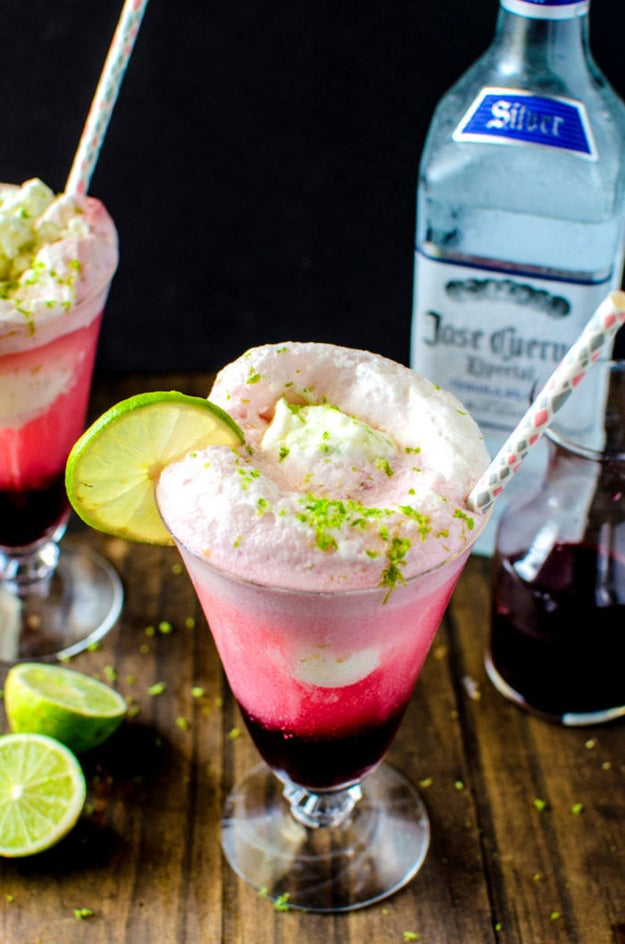 Hibiscus Strawberry Margarita Ice Cream Float