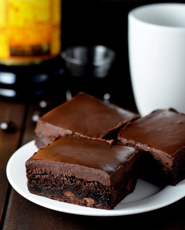 Kahlua Brownies with Chocolate Kahlua Ganache