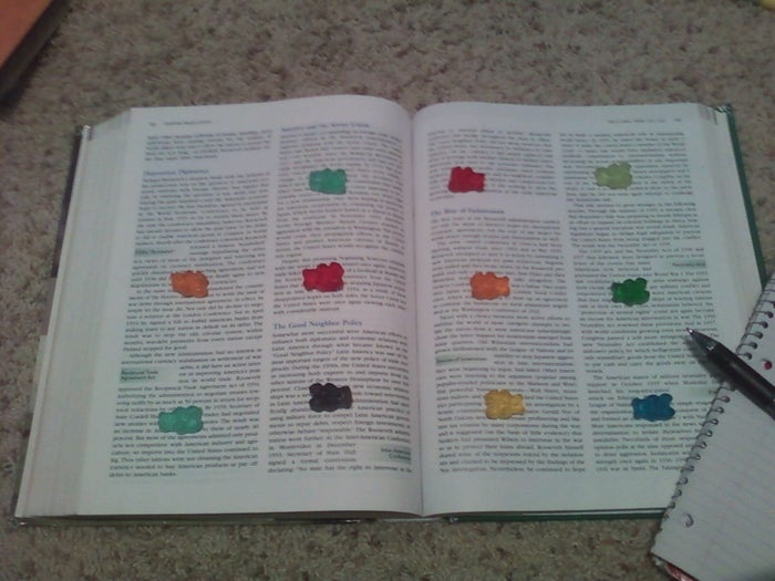 College students are no strangers to the convoluted language of PhD speak. So, when you find yourself looking for anything to do besides reading about how the goblet cells of the pseudostratified ciliated columnar epithelium secrete mucus, remember this sweet trick: studying with gummy bears.Contrary to popular belief, this tasty technique is freshman (or sophomore, junior, or senior...) fifteen friendly. How, you ask? The trick here is to place a gummy bear after each paragraph. Little do you know, the movement of your eyes as you read is enough to burn off the calories of each gummy bear that you eat! You'll make it through your textbook in record time AND have time to celebrate with an episode (or a whole season- we don't judge) of Netflix.