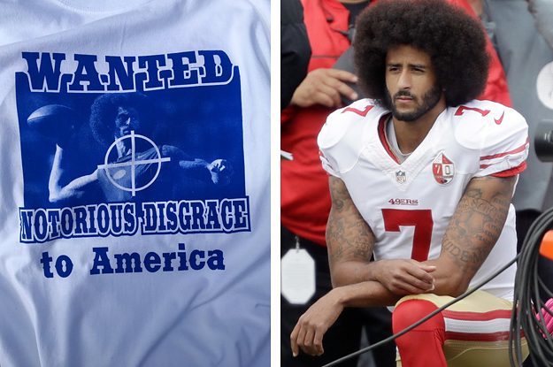uk availability c3e3d 267df Football Fan Sells T-Shirts With Colin Kaepernick In Rifle ...