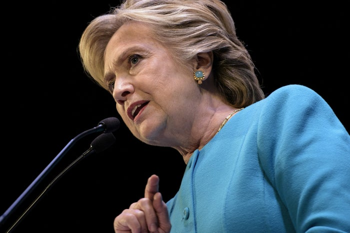 Democratic presidential nominee Hillary Clinton speaks during a fundraiser at the Paramount Theater on Oct. 14, 2016, in Seattle, Washington.