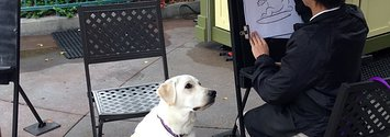A Service Dog Got His Caricature Drawn At Disneyland And People Can't Handle