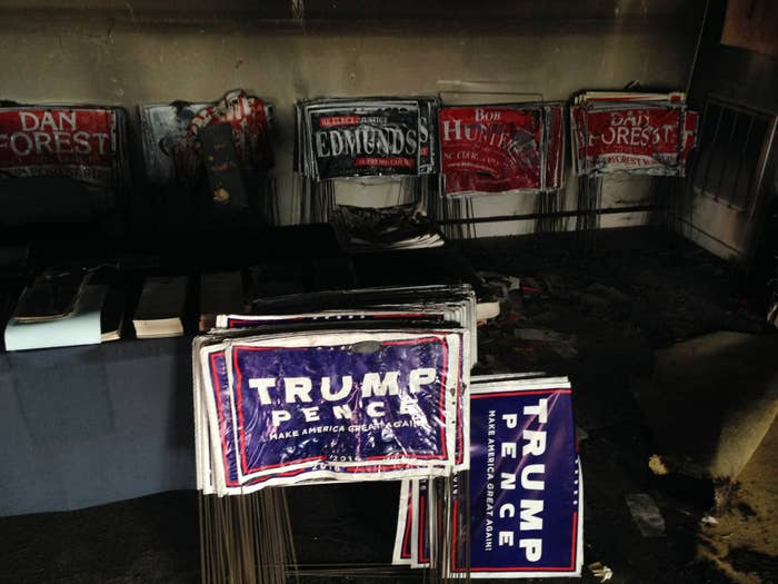 Melted campaign signs at the Orange County Republican Headquarters in Hillsborough, North Carolina.