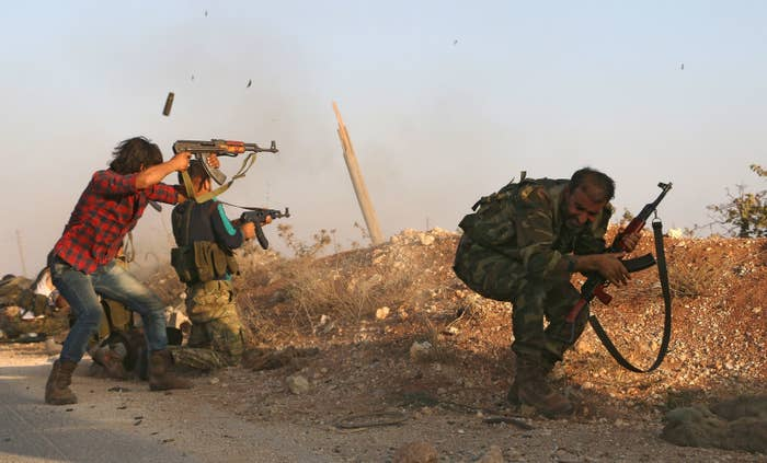 Syrian rebels fight against ISIS in the Marj Dabiq area north of Aleppo.