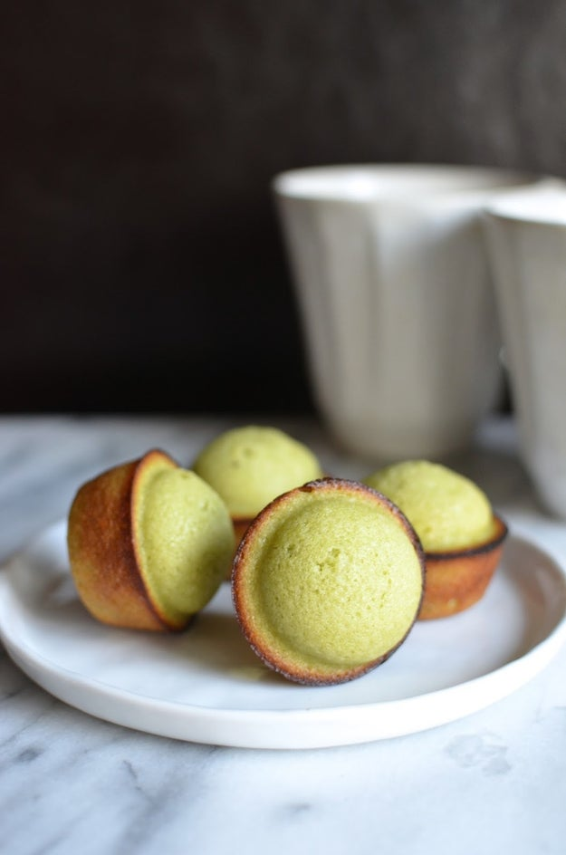 Matcha Financiers With Chocolate Filling