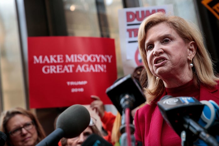 Rep. Carolyn Maloney speaks during a protest against Donald Trump.
