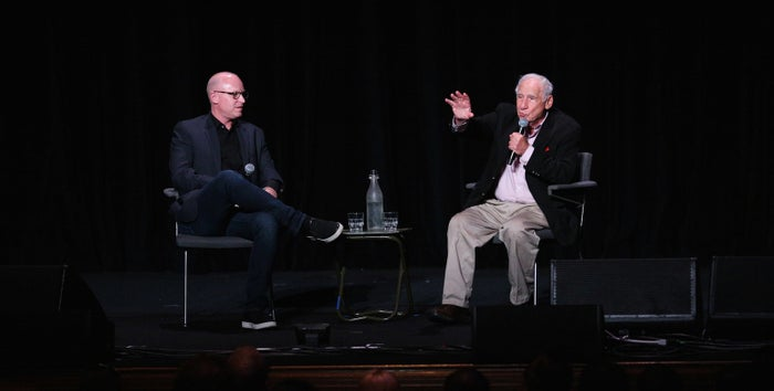 Moderator Kevin Salter and director Mel Brooks during his talk on Saturday.