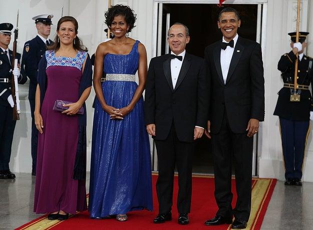 Usando Peter Soronen no jantar de Estado de 2010 para o então presidente mexicano, Felipe Calderón.