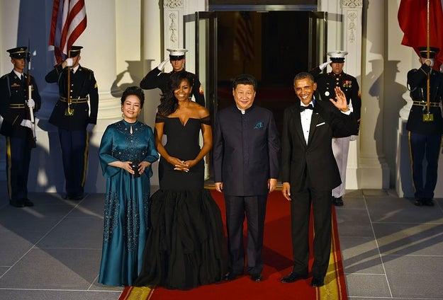 Usando Vera Wang no jantar de Estado de 2015 para o presidente chinês, Xi Jinping.