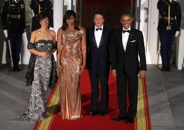 And while the guests of honor were the Italian Prime Minister Matteo Renzi and his wife Agnese Landini...