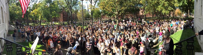Students flood Harvard Yard in a protest during the strike.