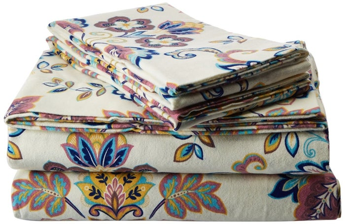 "Promising review: ""These sheets are warm and the flannel is plush, not like the thin cheap ones. You can feel the quality. The colors are vibrant and the patterns are gorgeous. They met my expectations and more. I would recommend them to a friend."" --Polly MertensPrice: $45.05 (available in twin–California king)"