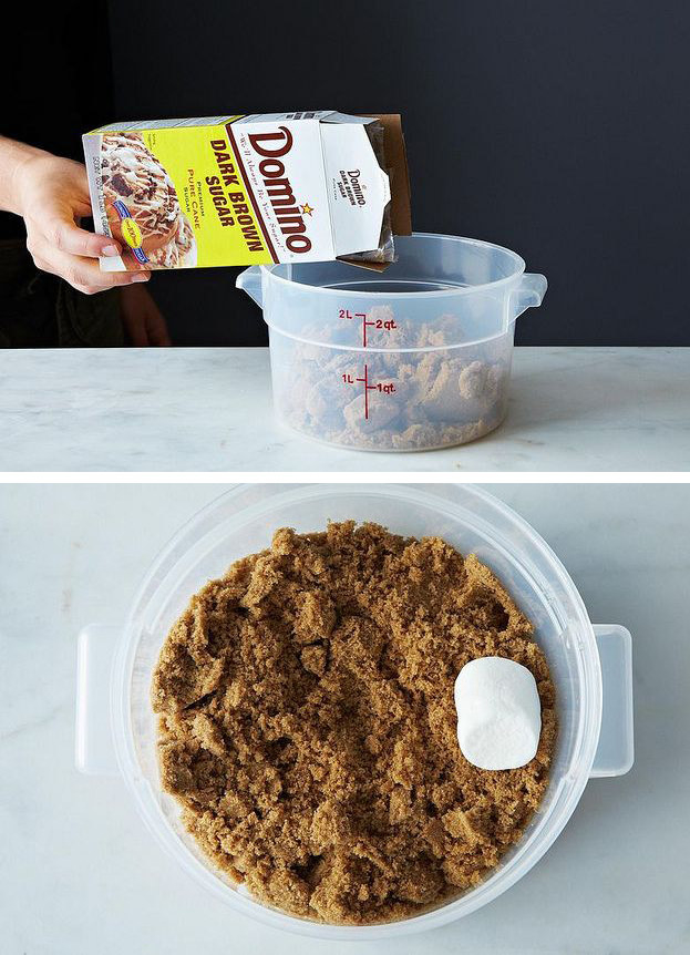 Prevent brown sugar clumps by tossing a marshmallow or two in the container.
