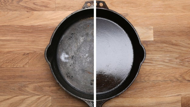 Seasoning will give you that hard, glassy layer that protects your skillet and makes it nonstick. The more you do this, the better and more effective the seasoning of your pan will get.For regular maintenance, do this process at least twice a year. If this is the first time you're seasoning your skillet, it's best to do this process twice in a row. If this isn't your first time seasoning, skip steps 1 and 2 and just start with adding a thin layer of oil and heating it past the smoking point in the oven.