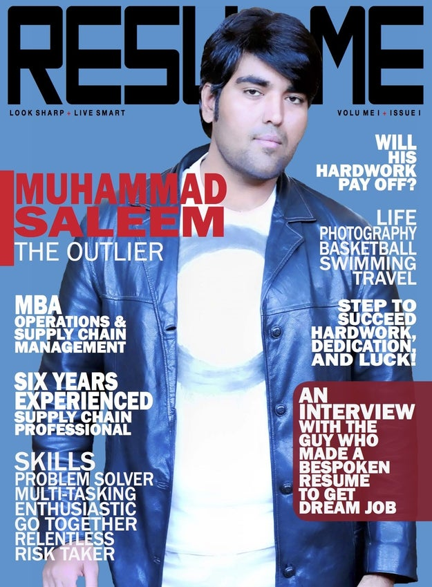Saleem's resume is actually a whopping 28-page PDF done up like a magazine and it is amazing.