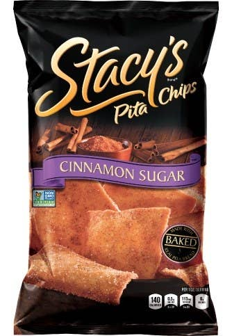 Each bite of the twice-baked pita chips from Stacy's pack an incredible taste and crunch. The Cinnamon Sugar chips is a convergence of two delicious flavors - pure cinnamon and milled cane sugar - that will make you crave one chip after the other. These chips are made with real pita breads that have been baked twiced and sprinkled with cinnamon and sugar. They are perfect for pairing with fresh fruit, ice cream, warm drinks, or by themselves.