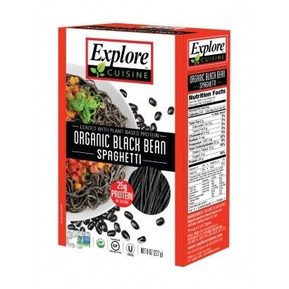 Made with just one ingredient - organic bean - the Bean Pastas from Explore Cuisine offer delicious, healthy, and satisfying alternative to regular pasta. The Organic Black Bean Spaghetti packs a nutritious punch with over 50 percent of your daily fiber value. The product is also organic, non-GMO, and gluten-free.