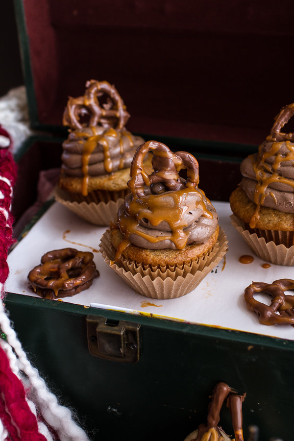... Cupcakes with Treacle Butter Frosting & Chocolate Covered Pretzels